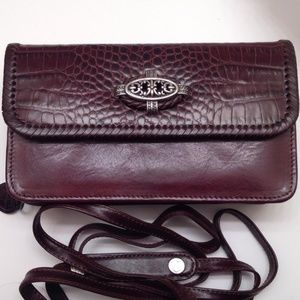 BRIGHTON brown leather crossbody organizer wallet